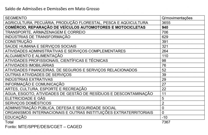 Tabela Admissões e demissões MT
